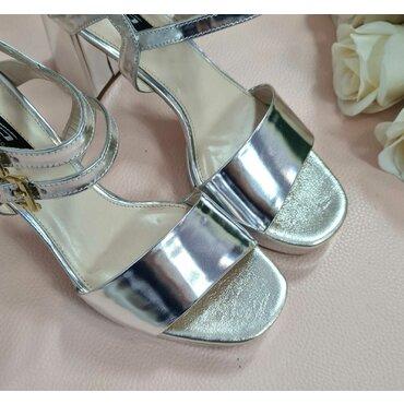 Sandale piele laminat argintiu L2584