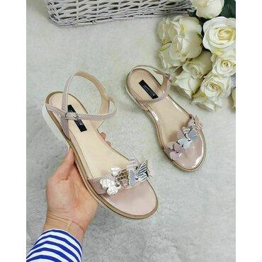 Sandale piele naturala nud roze Fany Best cu fluturi