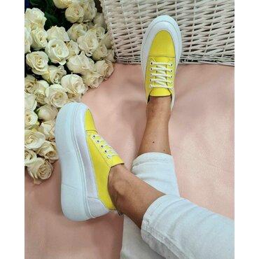 Sneakers alb cu galben Tulip