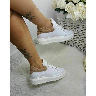 Sneakers din piele naturala alb cu bej Koli