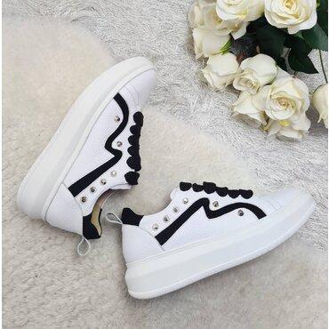 Sneakers din piele naturala alba Maxi