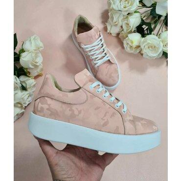 Sneakers din piele naturala imprimeu roz Paco