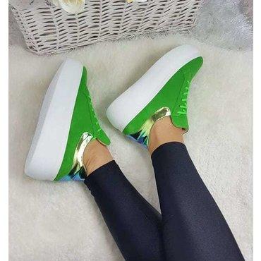 Sneakers din piele naturala verde Roxy 6016