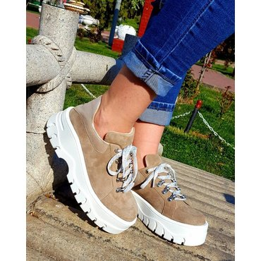 Sneakers platform din piele naturala bej Kalina