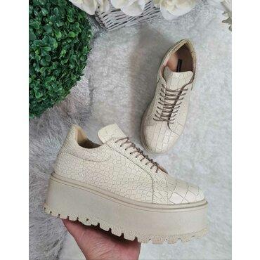 Sneakers platforma din piele presaj bej Levi