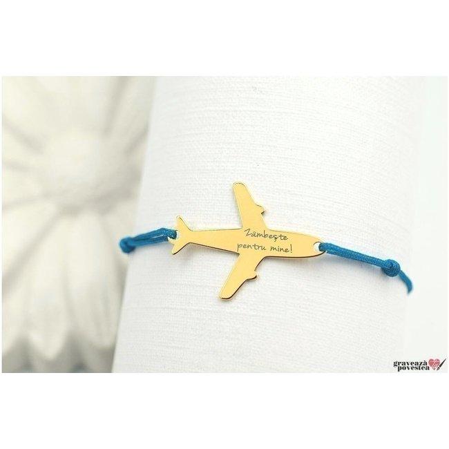 Bratara snur avion 28 mm personalizata gravura text Argint 925 rodiat