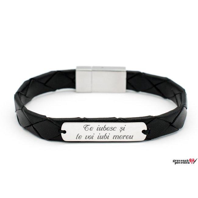 Bratara barbateasca eleganta piele Nappa placuta 33 mm personalizata gravura text Argint 925 rodiat (inchizatoare clips inox)