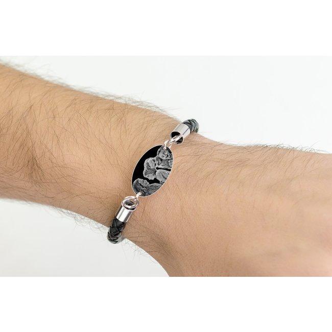 Bratara barbateasca piele oval 25 mm personalizat gravura foto Argint 925 rodiat (piele 6 mm si inchizatoare inox)