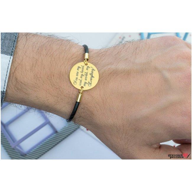 Bratara unisex piele banut 22 mm personalizat gravura text Argint 925 rodiat (piele 3 mm)