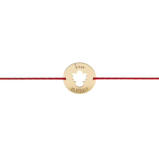 Bratara snur banut ingeras 15 mm personalizat gravura text Argint 925 placat cu aur