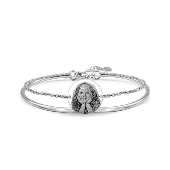 Bratara fixa rotunda cu lantisor si banut 14.5 mm personalizat gravura foto Argint 925 rodiat