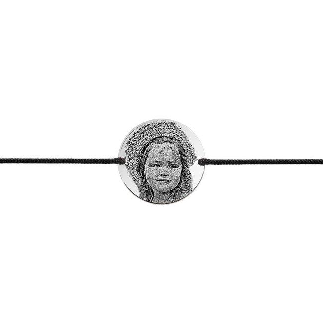 Bratara barbateasca snur gros banut 22 mm personalizat gravura foto Argint 925 rodiat