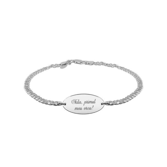 Bratara lant oval 22 mm personalizat gravura text Argint 925 rodiat (lant Curbed)