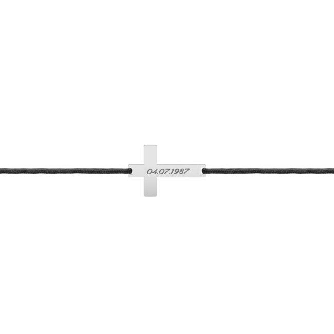 Bratara snur gros cruce 28 mm personalizata gravura text Argint 925 rodiat