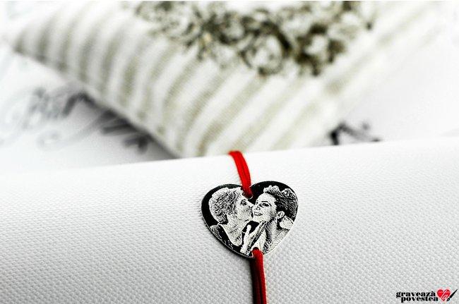 Bratara snur inima 20 mm personalizata gravura foto Argint 925 rodiat