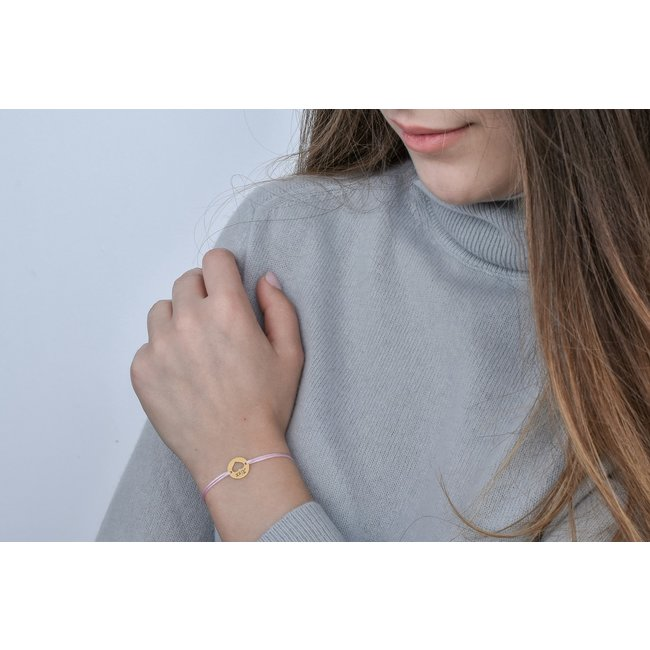 Bratara snur banut inima 11 mm personalizat gravura text Argint 925 placat cu aur roz