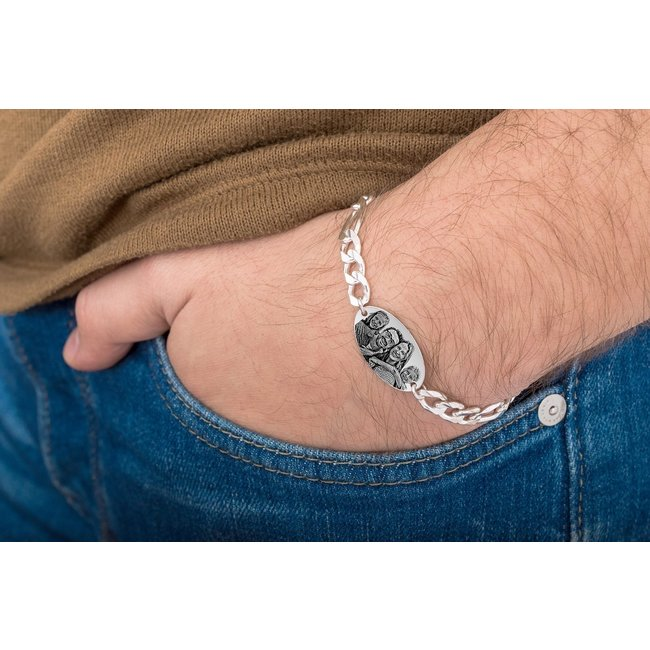 Bratara lant barbateasca oval 25 mm personalizat gravura foto Argint 925 rodiat (lant Figaro XXL)