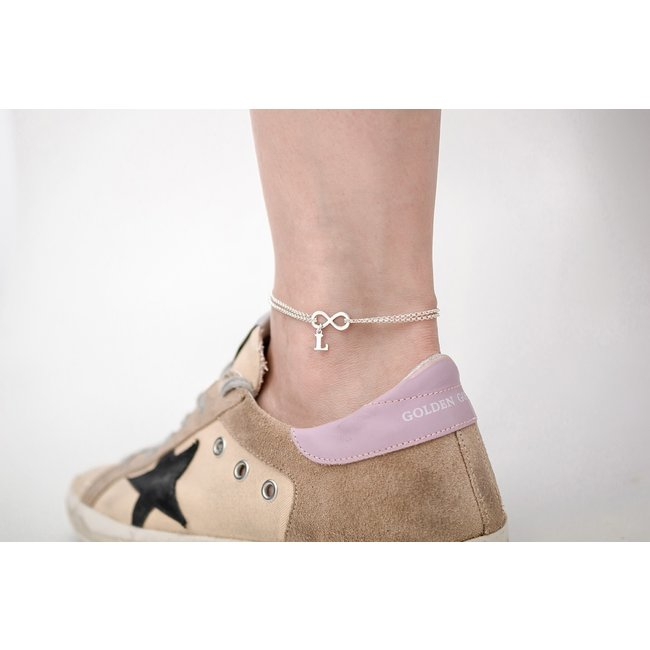 Bratara lant dublu pentru picior infinit 17 mm si litera 9 mm Argint 925 placat cu aur