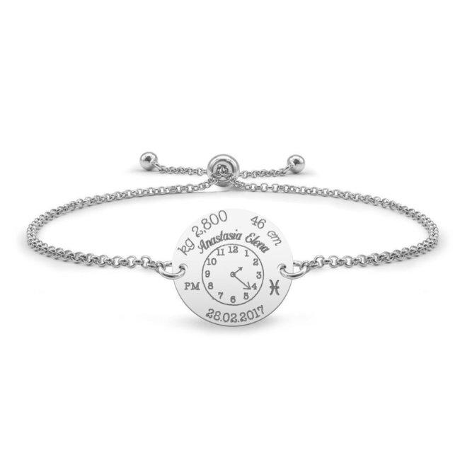 Bratara lant glisanta ceasul bebelusului banut 17 mm personalizat gravura foto Argint 925 rodiat
