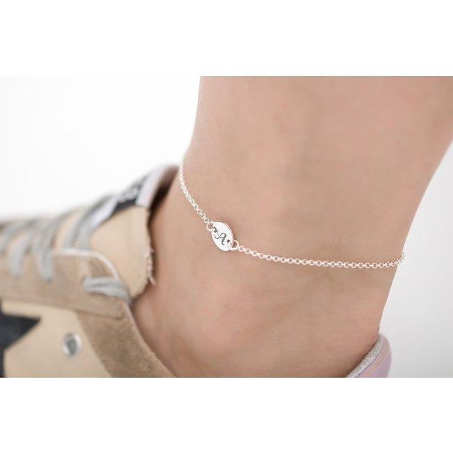 Bratara lant pentru picior banut 10 mm personalizat gravura text Argint 925 rodiat