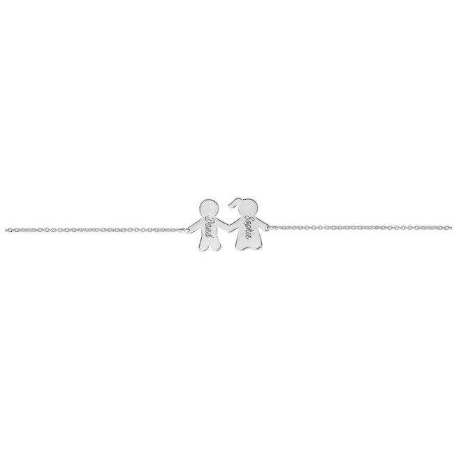 Bratara lant familie - fata si baiat 16 mm personalizata gravura text Argint 925 rodiat