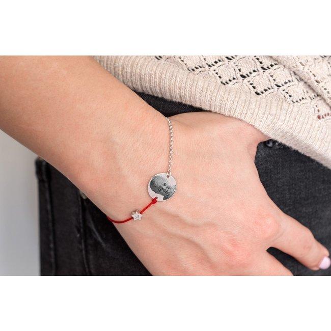 Bratara mix snur si lant steluta 5 mm si banut 14,5 mm personalizat gravura foto Argint 925 rodiat