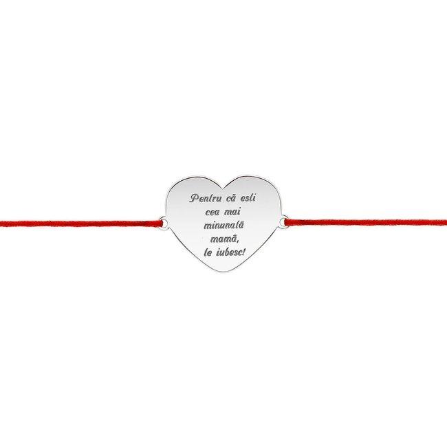 Bratara snur inima anouri 20 mm personalizata gravura text Argint 925 rodiat