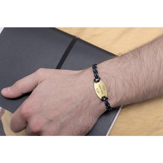 Bratara snur paracord oval 28 mm personalizat gravura text Argint 925 rodiat