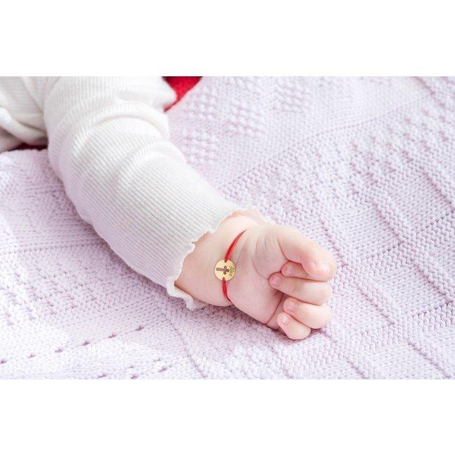 Bratara snur bebe banut cruce 10 mm personalizat gravura text Aur 14K