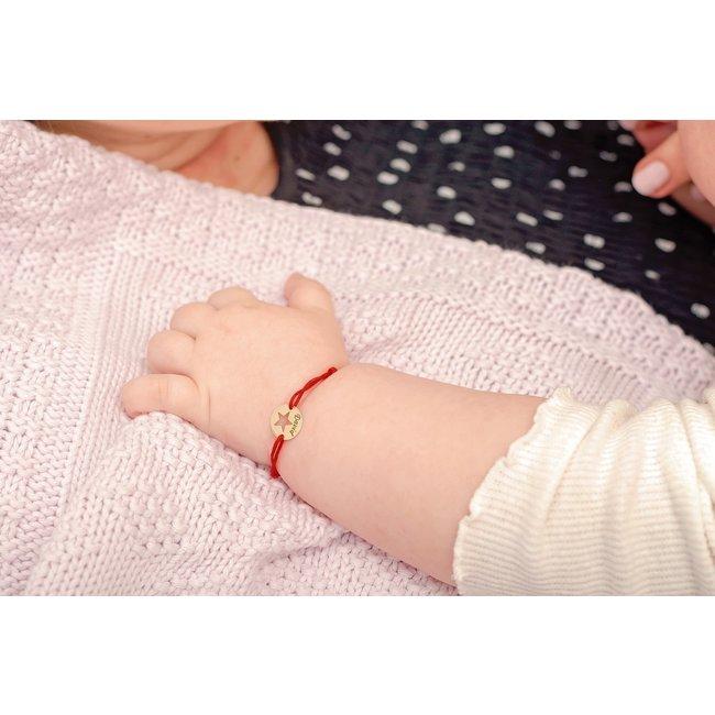 Bratara snur bebe banut steluta 10 mm personalizat gravura text Aur 14K