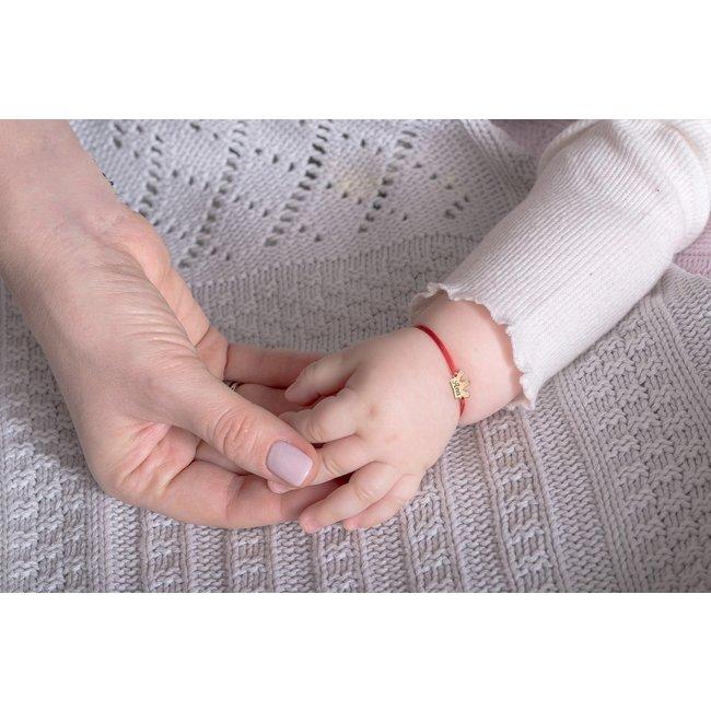 Bratara snur bebe coronita anouri 10 mm personalizata gravura text Aur 14K