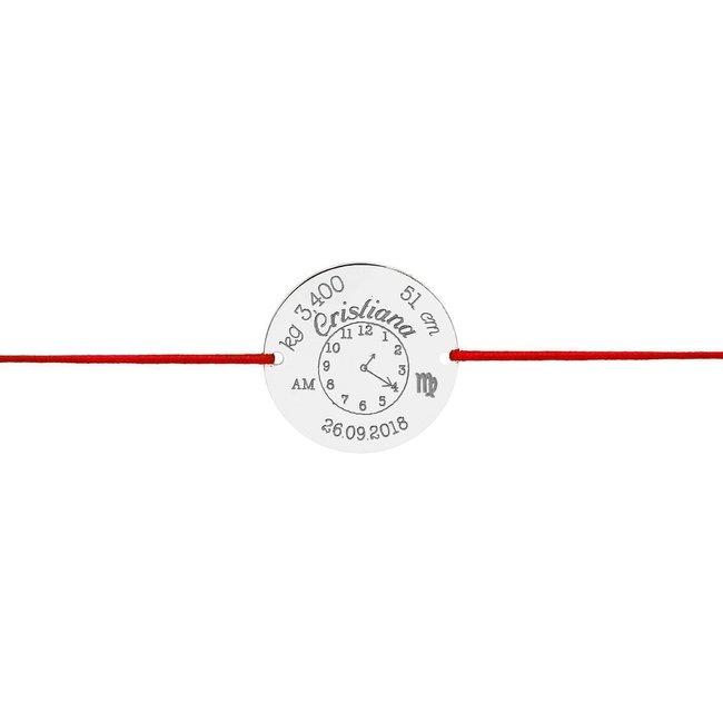 Bratara snur gros ceasul bebelusului banut 22 mm personalizat gravura foto Argint 925 rodiat
