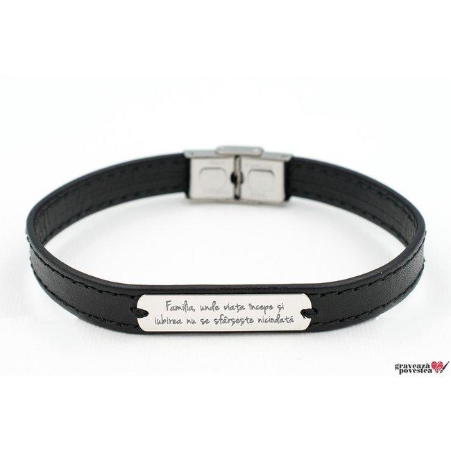 Bratara barbateasca piele lata cusuta placuta 33 mm personalizata gravura text Argint 925 rodiat (inchizatoare inox)