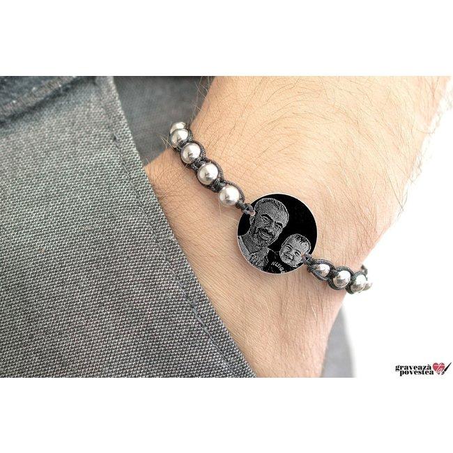 Bratara tip Shamballa banut 22 mm personalizat gravura foto Argint 925 rodiat