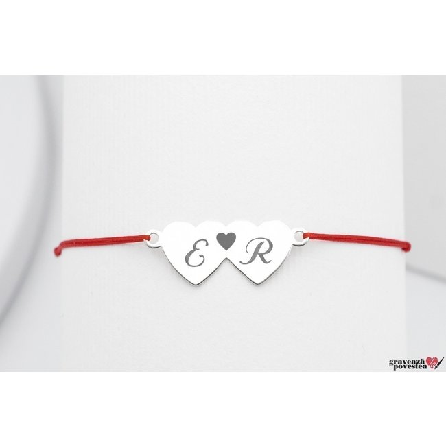 Bratara snur doua inimi 20 mm personalizate gravura text Argint 925 rodiat