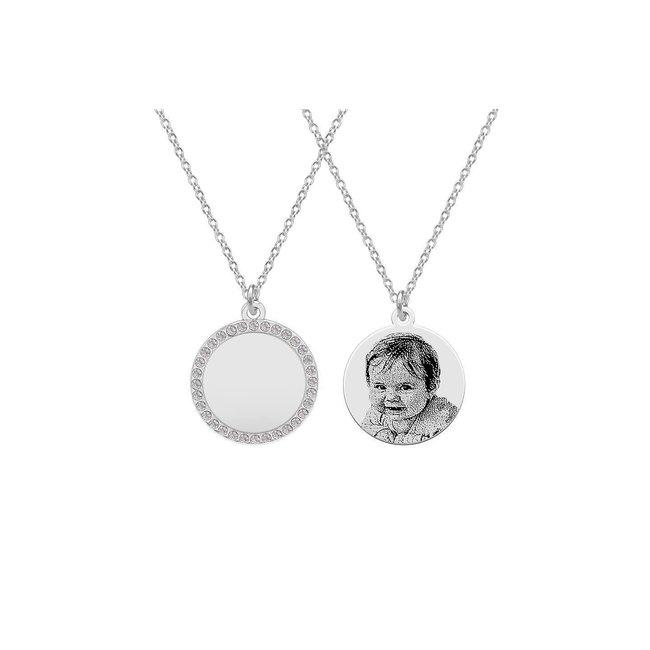 Colier banut 16 mm cu pietricele personalizat gravura foto Argint 925 rodiat