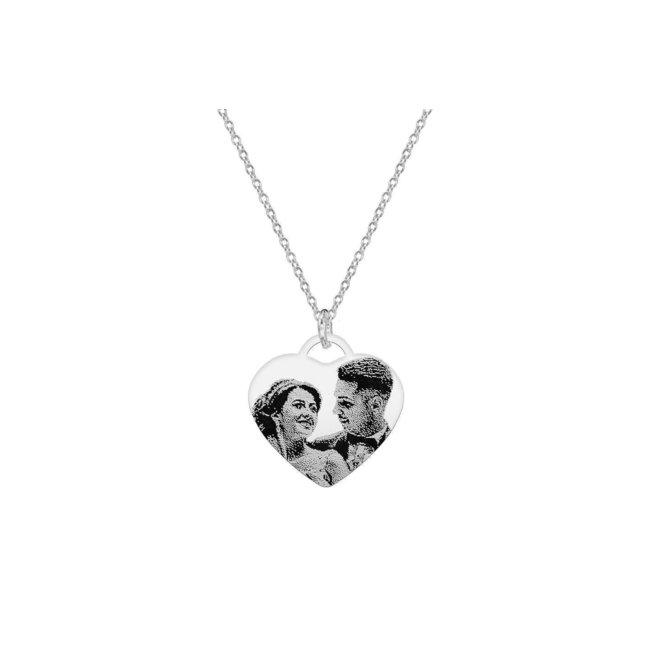 Colier inima 20 mm personalizata gravura foto Argint 925 rodiat