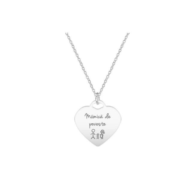 Colier inima 20 mm personalizata gravura text Argint 925 rodiat