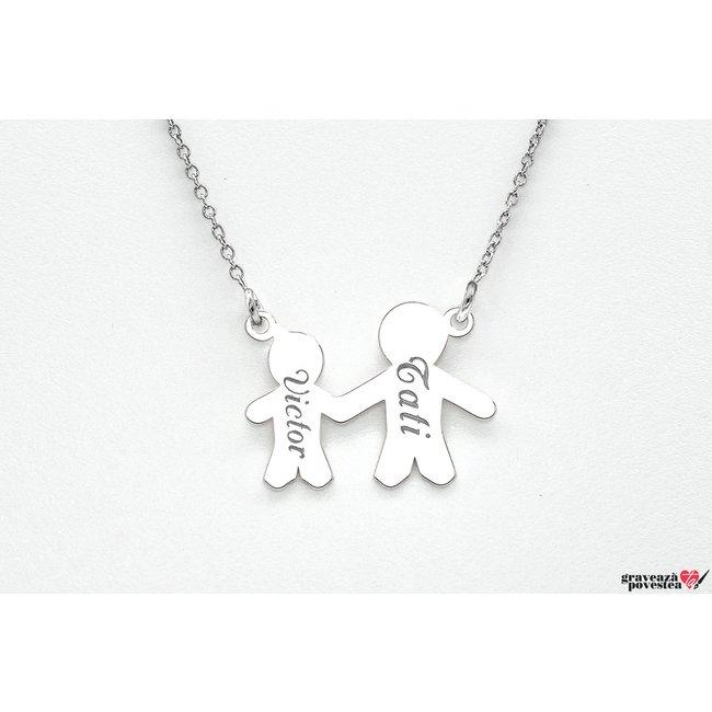 Colier familie - doi membri 17 mm personalizati gravura text Argint 925 rodiat