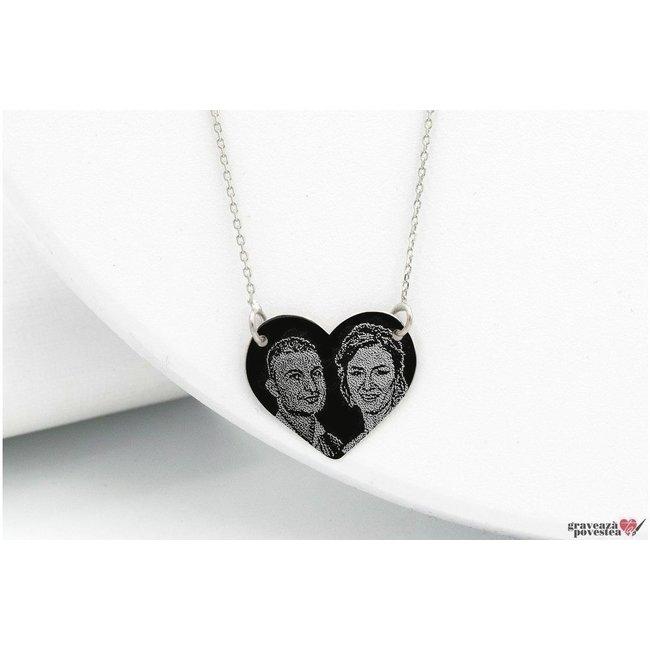 Colier inima fixa 18 mm personalizata gravura foto Aur 14K
