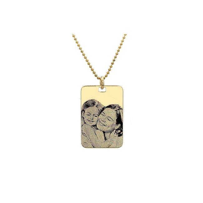 Colier placuta 30 mm personalizata gravura foto Argint 925 placat cu aur (lant Beads)