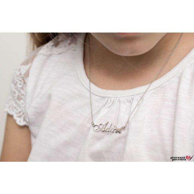 Colier pentru copii nume decupat Argint 925 rodiat (2-14 ani)