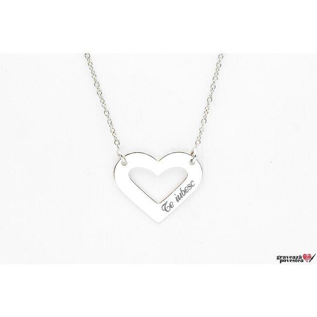 Colier forma inima 20 mm personalizata gravura taext Argint 925 rodiat