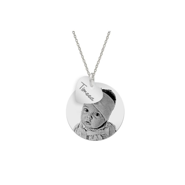 Colier banut 22 mm copilasul mamei personalizat gravura foto Argint 925 rodiat (baietel/ fetita)