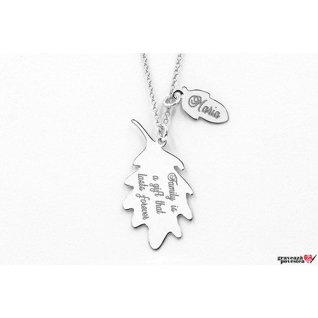 Colier ghinda si frunza de stejar 34 mm personalizate gravura text Argint 925 rodiat (mama si copil)