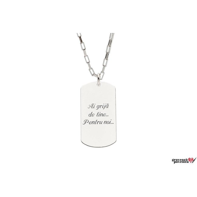 Colier placuta Army 28 mm personalizata gravura text Argint 925 rodiat (lant Paper Link)