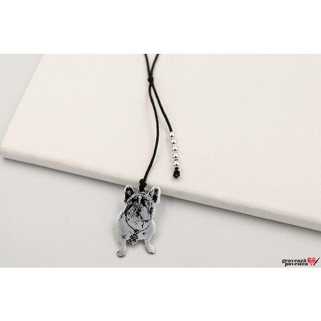 Colier snur cu bilute decupaj silueta/ animalut 30 mm/ 10 mm personalizat gravura text/ foto Argint 925 rodiat