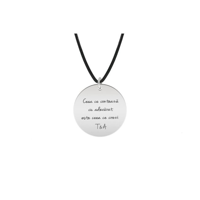 Colier piele subtire banut 22 mm personalizat gravura text Argint 925 rodiat