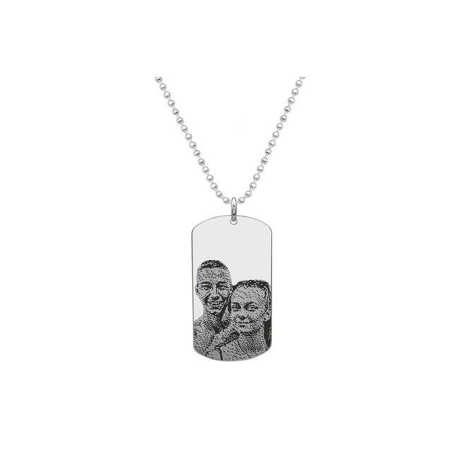 Colier placuta Army 38 mm personalizata gravura foto Argint 925 placat cu aur (lant Beads)