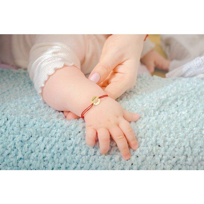 Bratara snur bebe banut coronita 10 mm personalizata gravura text Aur 14K